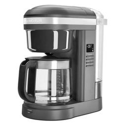 12-Cup Matte Grey Drip Coffee Maker with Spiral Showerhead
