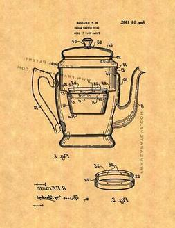 Drip Coffee Maker Patent Print Ancient Gold