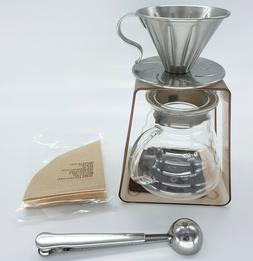 Drip Coffee Maker Set 1-2 Dripper Server Stand Measuring Spo
