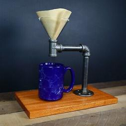 Industrial Black Pipe Pour Over Coffee Stand, Single Cup Dri