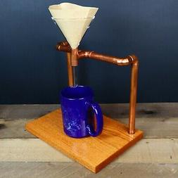 Industrial Copper Pipe Pour Over Coffee Stand, Single Cup Dr