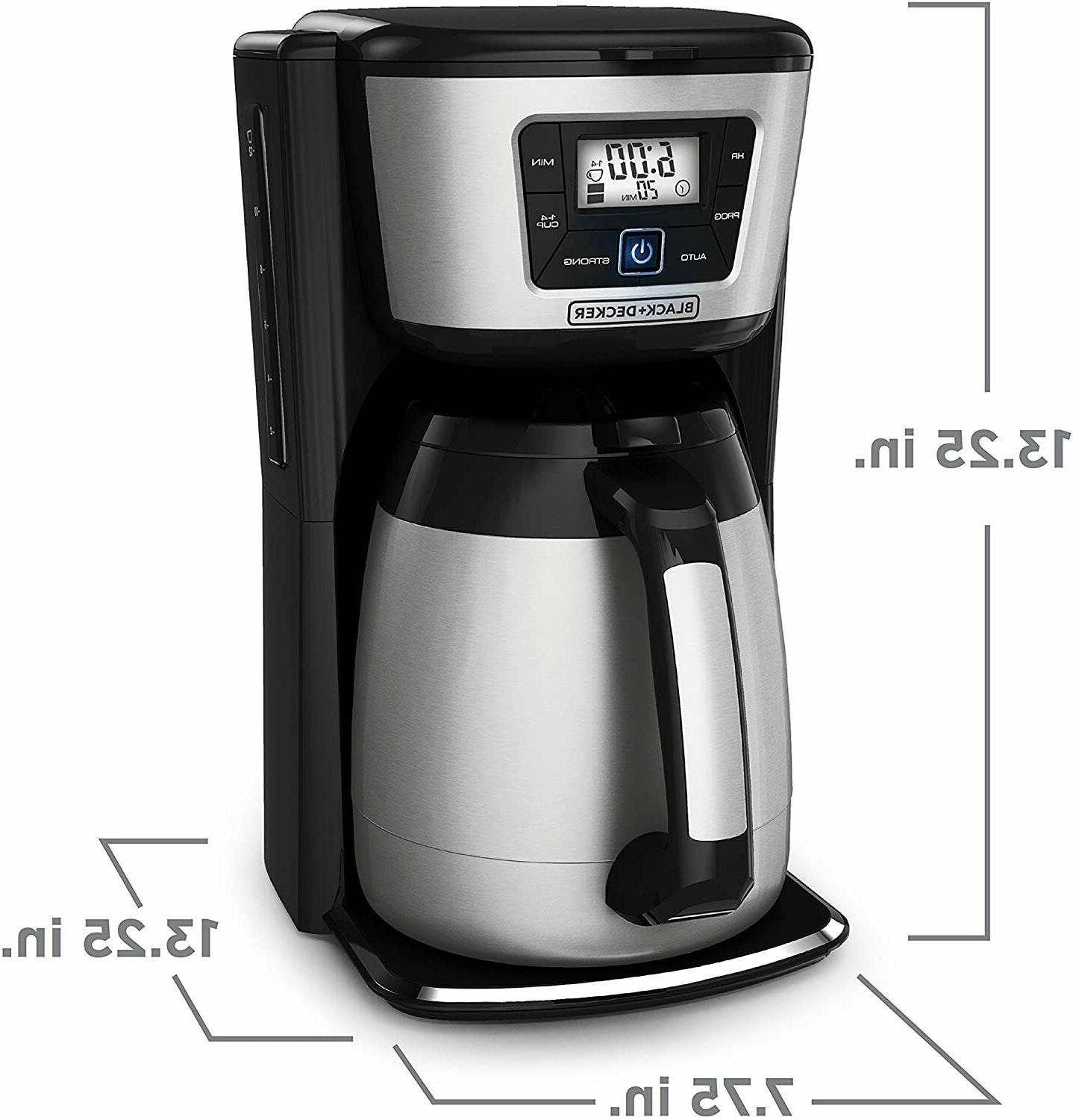 Programable Coffee Maker No Drip Pour Spout 12 Cup Thermal