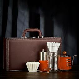 Leather Retro Coffee Kit - Cold Drip, Manual Coffee Grinder,