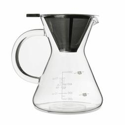 Manual Drip Coffee Maker 400ml Glass  Pour Over With Stainle