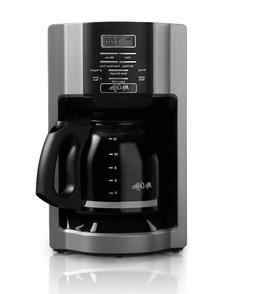 Mr. Coffee 12 Cup Automatic Drip Coffee Maker, Black/Silver
