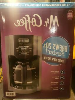 Mr. Coffee 12-Cup Programmable Drip Coffee Maker, Black/Grey