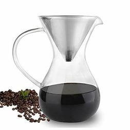 Phyismor Pour Over Coffee Maker with Stainless Steel Filter,