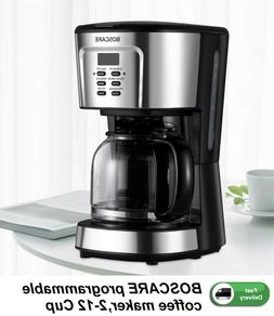 Programmable mini coffee maker 2-12 Cup Drip with Auto Shut-