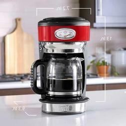 Red Stainless Steel Retro Style 8-Cup Drip Coffee Maker Home