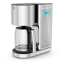 Silver Stainless Steel 8-Cup Drip Coffee Maker Glass Series